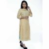 Cotton Straight Kurti With Sequence Work By Horizon D Stylathon (Beige)