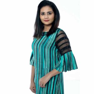 Cotton Stripe Print Straight Kurti By Horizon D Stylathon (Turquoise)1