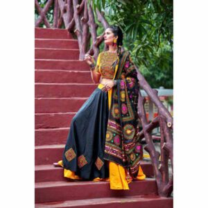 Designer Party Wear New Navratri Fashion Lehenga Choli Collection By Krishna Creation (Yellow & Black)