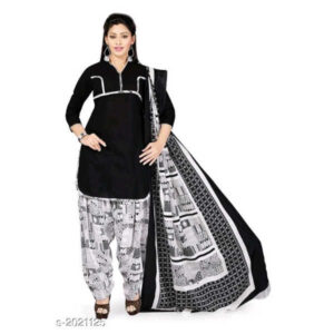Elegant Beautiful Un-Stitched Cotton Printed Dress Materials By Hafsa Collection (Black, Grey)
