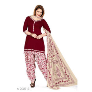 Elegant Beautiful Un-Stitched Cotton Printed Dress Materials By Hafsa Collection (Maroon, White)