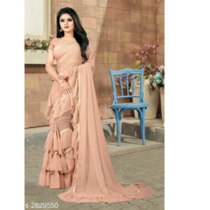 Elite Trendy Georgette Saree With Running Blouse By Ayan Style (Light Pink)