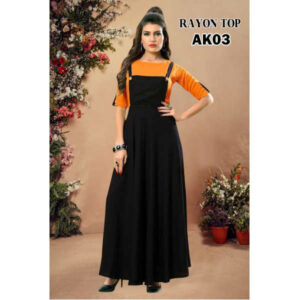 Eva Stylish 14 Kg Rayon Gown With Top By RMS Fashion