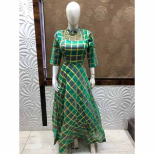 Gown Dress For Women By Krishna Creation (Green)
