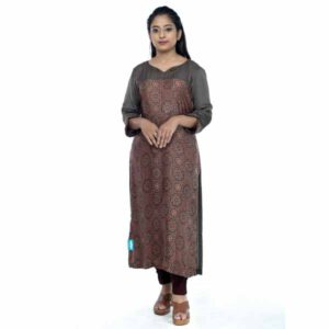 Modal Cotton Straight Kurti With Azrakh Print By Horizon D Stylathon (Brown)