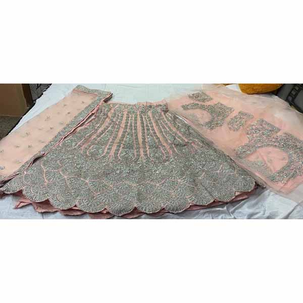 Net Lamaan Lehenga Choli With Stone, Crystal & Thread Work By Style And Blossom (Peach)