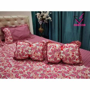 One Double Bedsheet, Two Pillow Covers With 2 Cushion & 1 Heart Cushion By Sai Collection
