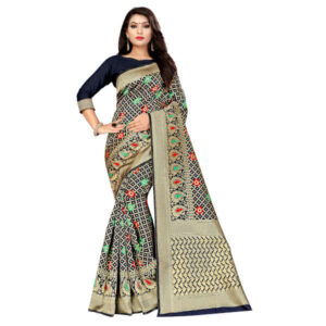 RMS Fashion Banarasi Weaving Soft Silk Saree With Running Blouse By RMS Fashion (Dark Grey, Black)