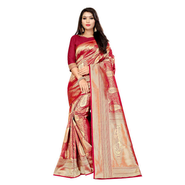 RMS Fashion Banarasi Weaving Soft Silk Saree With Running Blouse By RMS Fashion (Light Red)