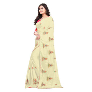 RMS Fashion Embroidery Chiffon Saree With Silk Blouse By RMS Fashion (Cream2)