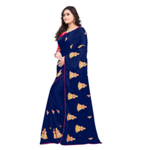 RMS Fashion Embroidery Chiffon Saree With Silk Blouse By RMS Fashion (Dark Blue 2)
