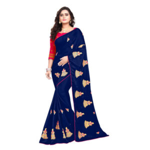 RMS Fashion Embroidery Chiffon Saree With Silk Blouse By RMS Fashion (Dark Blue)