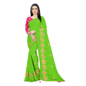 RMS Fashion New Launching Chiffon Saree With Silk Blouse By RMS Fashion (Apple Green)
