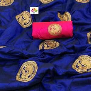 RMS Fashion Sana Silk Saree With Silk Blouse By RMS Fashion (Blue)