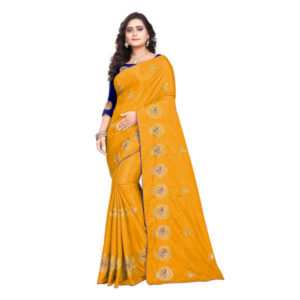 RMS Fashion Sana Silk Saree With Silk Blouse By RMS Fashion (Dark Orange)