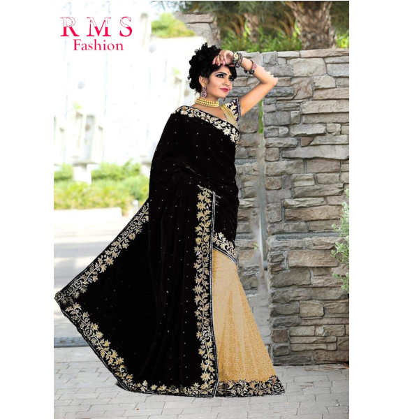 RMS Fashion Special Velvet Saree With Running Blouse By RMS Fashion (Black)