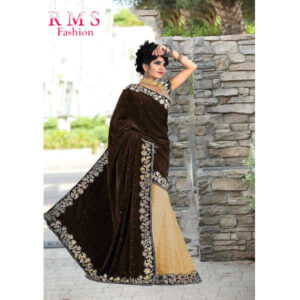 RMS Fashion Special Velvet Saree With Running Blouse By RMS Fashion (Dark Brown)