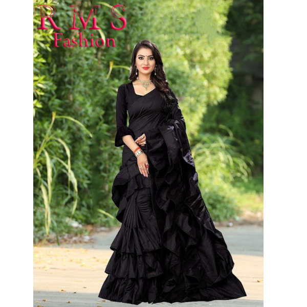 Ruffle Poly Silk Saree With Running Blouse By RMS Fashion (Black)