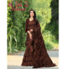 Ruffle Poly Silk Saree With Running Blouse By RMS Fashion (Dark Brown)