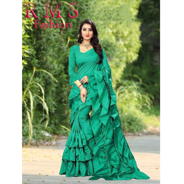 Ruffle Poly Silk Saree With Running Blouse By RMS Fashion (Green)