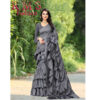 Ruffle Poly Silk Saree With Running Blouse By RMS Fashion (Grey)
