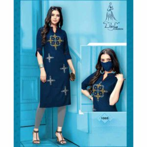 Stylish Rayon Kurti With Embroidery Work And Matching Mask By Style And Blossom (Dark Blue)