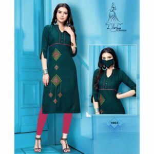 Stylish Rayon Kurti With Embroidery Work And Matching Mask By Style And Blossom (Dark Green)