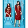 Stylish Rayon Kurti With Embroidery Work And Matching Mask By Style And Blossom (Maroon)2