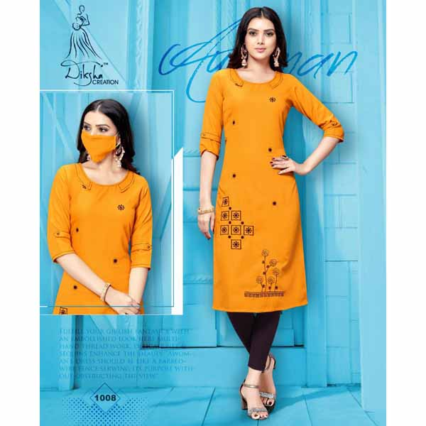 Stylish Rayon Kurti With Embroidery Work And Matching Mask By Style And Blossom (Mustard)