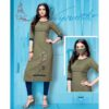 Stylish Rayon Kurti With Embroidery Work And Matching Mask By Style And Blossom (Olive)