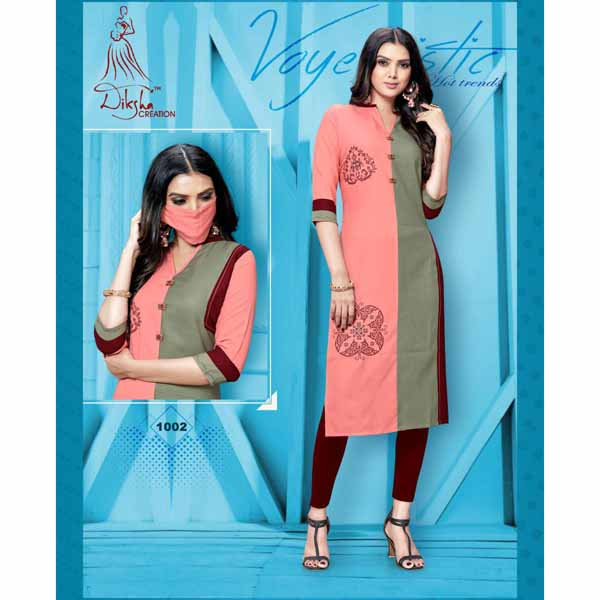 Stylish Rayon Kurti With Embroidery Work And Matching Mask By Style And Blossom (Pink)