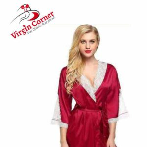 Virgin Corner Pure Satin Kimono Robe V-NECK Sexy Honeymoon Nightwear Short Length With Lace Design By Diviner Apparels (Red-S-1006)