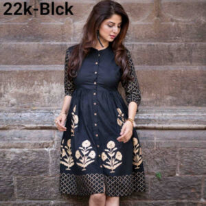 14 Kg Heavy Rayon Stitched Block Printed Kurtis By Tushar Creation (Black)