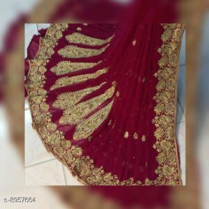 Aagam Drishya Cotton Silk Printed Saree With Running Blouse By Mango Man Market (Maroon)
