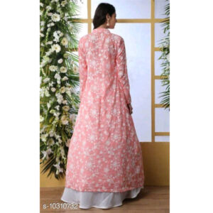Aagam Fabulous Women Georgette Semi-Stitched Lehenga & Choli With Dupatta Sets By Mango Man Market (Rose Pink2)