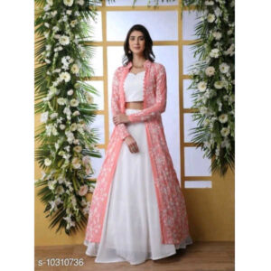 Aagam Fabulous Women Georgette Semi-Stitched Lehenga & Choli With Dupatta Sets By Mango Man Market (Rose Pink4)