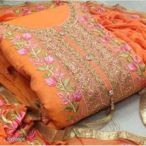 Aagyeyi Attractive Modal Cotton Un-Stitched Dress Materials For Salwar Suit With Georgette Dupatta By Mango Man Market (Light orange)