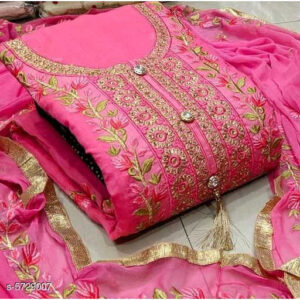 Aagyeyi Attractive Modal Cotton Un-Stitched Dress Materials For Salwar Suit With Georgette Dupatta By Mango Man Market (Magenta)
