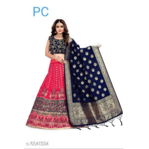 Aagyeyi Fabulous Banarasi Silk Jaqard Semi Stitched Lehenga & Choli With Zari Dupatta By Priyanka Bansal (Red)