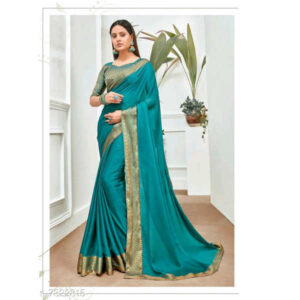 Aagyeyi Fabulous Chiffon Saree With Silk Blend Blouse By Priyanka Bansal (Turquoise)