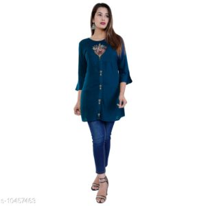 Aakarsha Graceful Rayon Slub 34 Th Sleeve Women Kurtis By Priyanka Bansal (Blue)