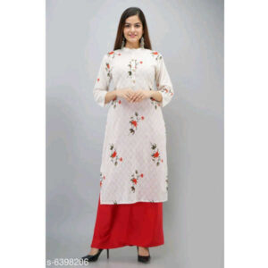 Aakarsha Sensational Rayon 34 Th Sleeve Women Stitched Kurta With Palazzo By Priyanka Bansal (White)