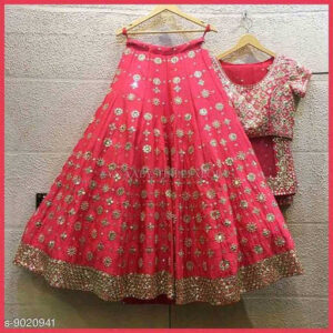 Aishani Pretty Semi Stitched Women Silk Lehenga & Choli With Net Dupatta By Priyanka Bansal (Dark Pink)