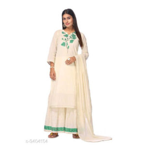 Bandhani Printed Cotton Silk Un-Stitched Dress Materials For Salwar Suit With Dupatta By Priyanka Bansal (Cream)