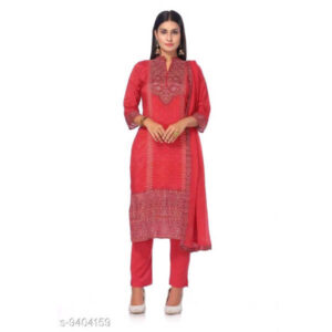 Bandhani Printed Cotton Silk Un-Stitched Dress Materials For Salwar Suit With Dupatta By Priyanka Bansal (Red)