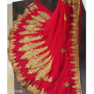 Chitrarekha Drishya Georgette Embroidered Saree With Jacquard Running Blouse By Mango Man Market(Red)