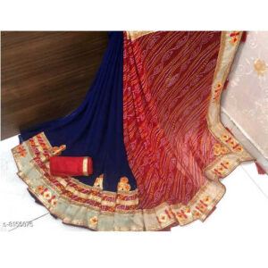 Chitrarekha Petite Georgette Saree With Dupion Silk Running Blouse By Priyanka Bansal (Blue)