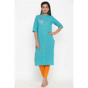 Cotton Elbow Sleeve Solid Straight Stitched Kurta By Women Magic (Turquoise)