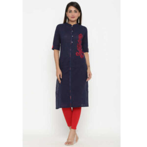 Cotton Elbow Sleeve Solid Straight Stitched Kurta By Women Magic(Navy Blue)