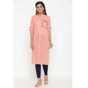 Cotton Elbow Sleeve Solid Straight Stitched Kurta By Women Magic(Pink)
